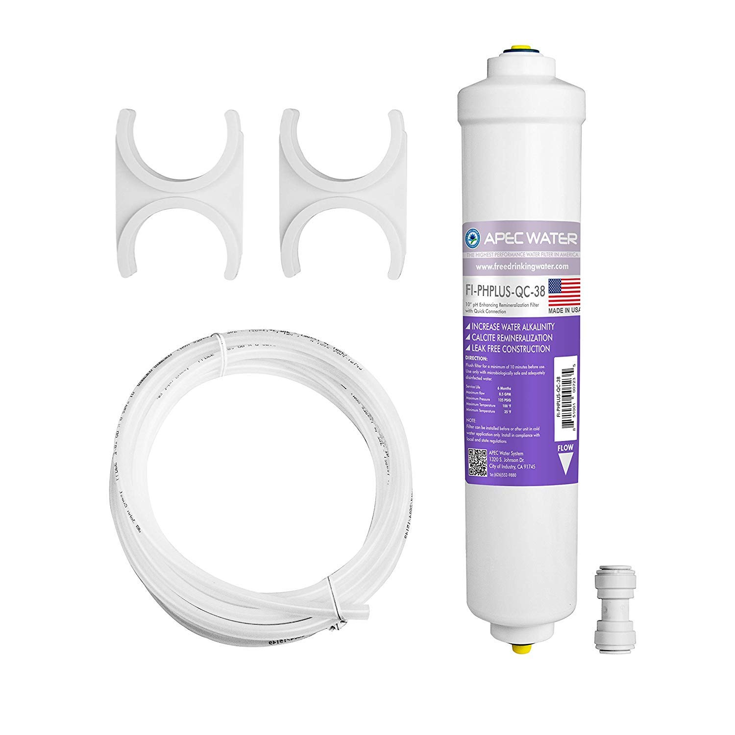 """APEC Water Systems PHPLUSKIT-38 10"""" US MADE Alkaline High Purity pH+ Calcium Carbonate Inline Filter Kit with 3/8""""D Tubing Quick Connect, White"""