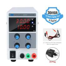 30V 10A DC Bench Power Supply Adjustable 4-Digital Switching Regulated Mini Power Supply Single-Output 110V, with Alligator Leads, US Power Cord