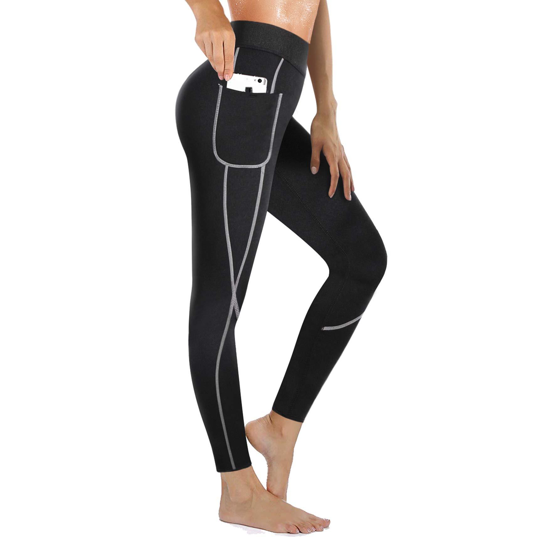 Rolewpy Women Neoprene Sauna Slimming Pants Weight Loss Hot Thermo Sweat Body Shaper Capri for Fat Burner Leggings