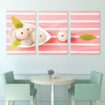 "wall26 3 Panel Canvas Wall Art - Peeled Lychee Fruits on Pink Table Cloth - Giclee Print Gallery Wrap Modern Home Decor Ready to Hang - 16""x24"" x 3 Panels"