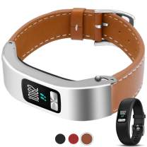 C2D JOY Compatible with Garmin vivofit 4, Silver Metal Case with Leather Band