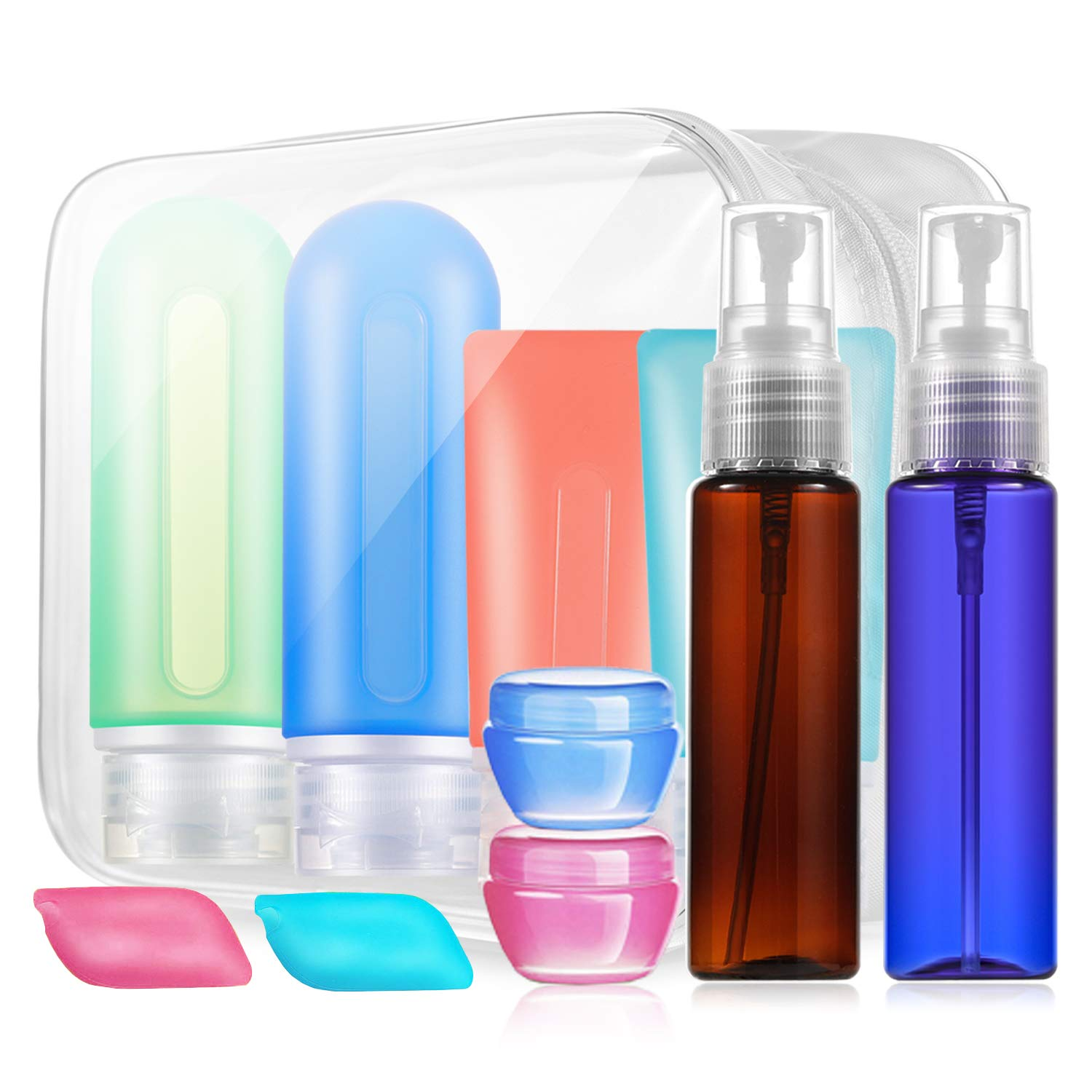 Travel Bottles Set TSA Approved, Leakproof Travel Size Containers Accessories-Spray Bottles Silicone Squeeze Bottles For Toiletries Lotion liquids Hand Sanitizer/Gel Hand Soap etc,With Bag
