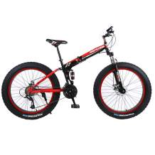 TOUNTLETS Fat Tire Mountain Bike 26 Inch Bicycle for Mens Anti-Slip Framed Fat Tire Cruiser Bike,17-Inch Medium High-Tensile Steel Frame Suspension 21-Speed MTB Bikes for Heavy People