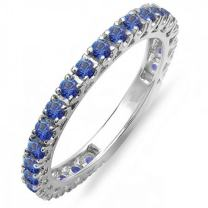 Dazzlingrock Collection 14K White Gold Round Gemstone Eternity Sizeable Stackable Wedding Band