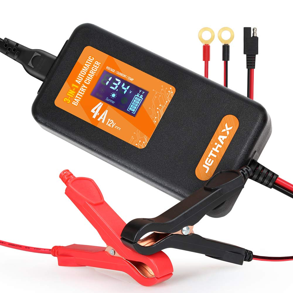 Jethax 12v 4a Smart Car Battery Charger Fully Automatic 3 In 1 Portable Battery Maintainer And Trickle Charger For Car Motorcycle Lawn Mower Scooter Suv Atv
