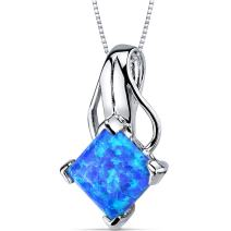 Created Blue-Green Opal Pendant Necklace Sterling Silver Princess Cut 2.00 Carats