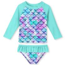Enlifety Little Girls Rash Guard Swimsuit Set Ruffled Long Sleeve Bathing Suits Beachwear with UPF 50+ Sun Protection 2-8T