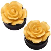 BodyJ4You Flower Beige Rose Saddle Plugs 0G-22mm (2 Pieces)
