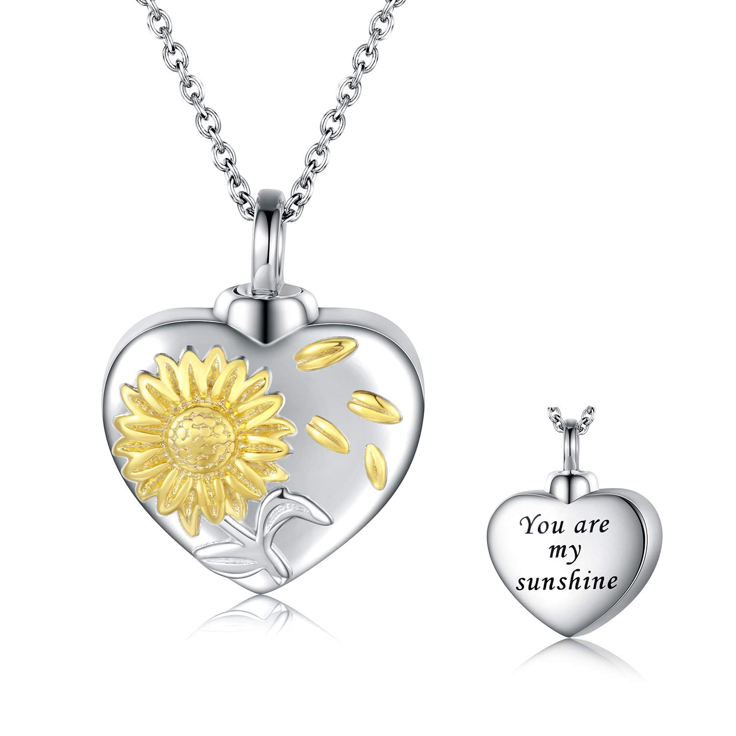 Sunflower Urn Pendant Necklace 925 Sterling Silver keepsakes Cremation Jewelry for Ashes Necklace You are my sunshine Cremation Memorial Always in My Heart Memory Necklace Gift