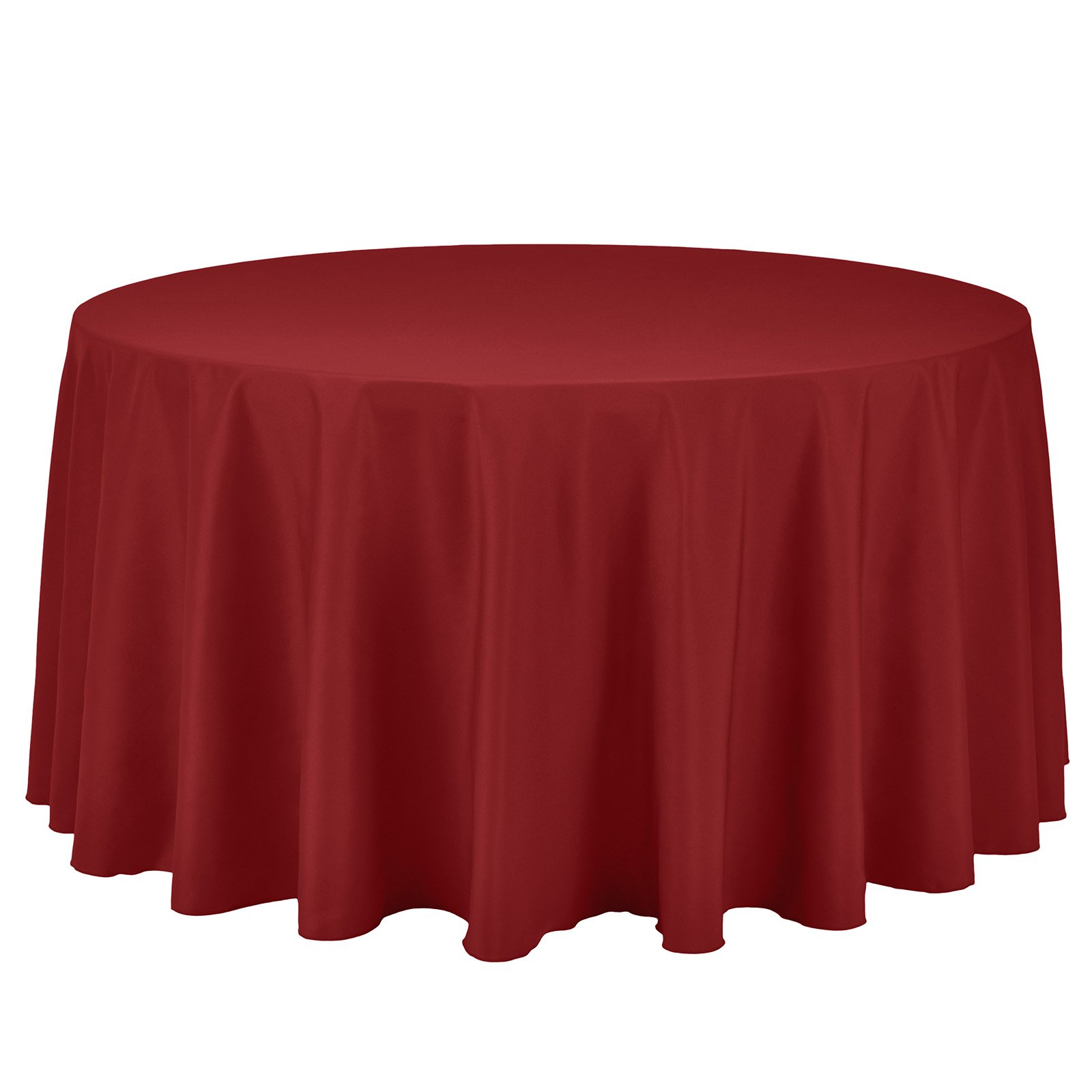 Remedios Round Tablecloth Solid Color Polyester Table Cloth for Bridal Shower Wedding Table – Wrinkle Free Dinner Tablecloth for Restaurant Party Banquet (Red, 120 inch)