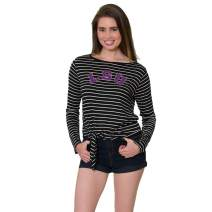 Flying Colors Women's NCAA Officially Licensed Louisiana State University Tigers   The Tara - Tie Front Top Women's Scoop-Neck Long-Sleeve Adjustable Tie Front Tee