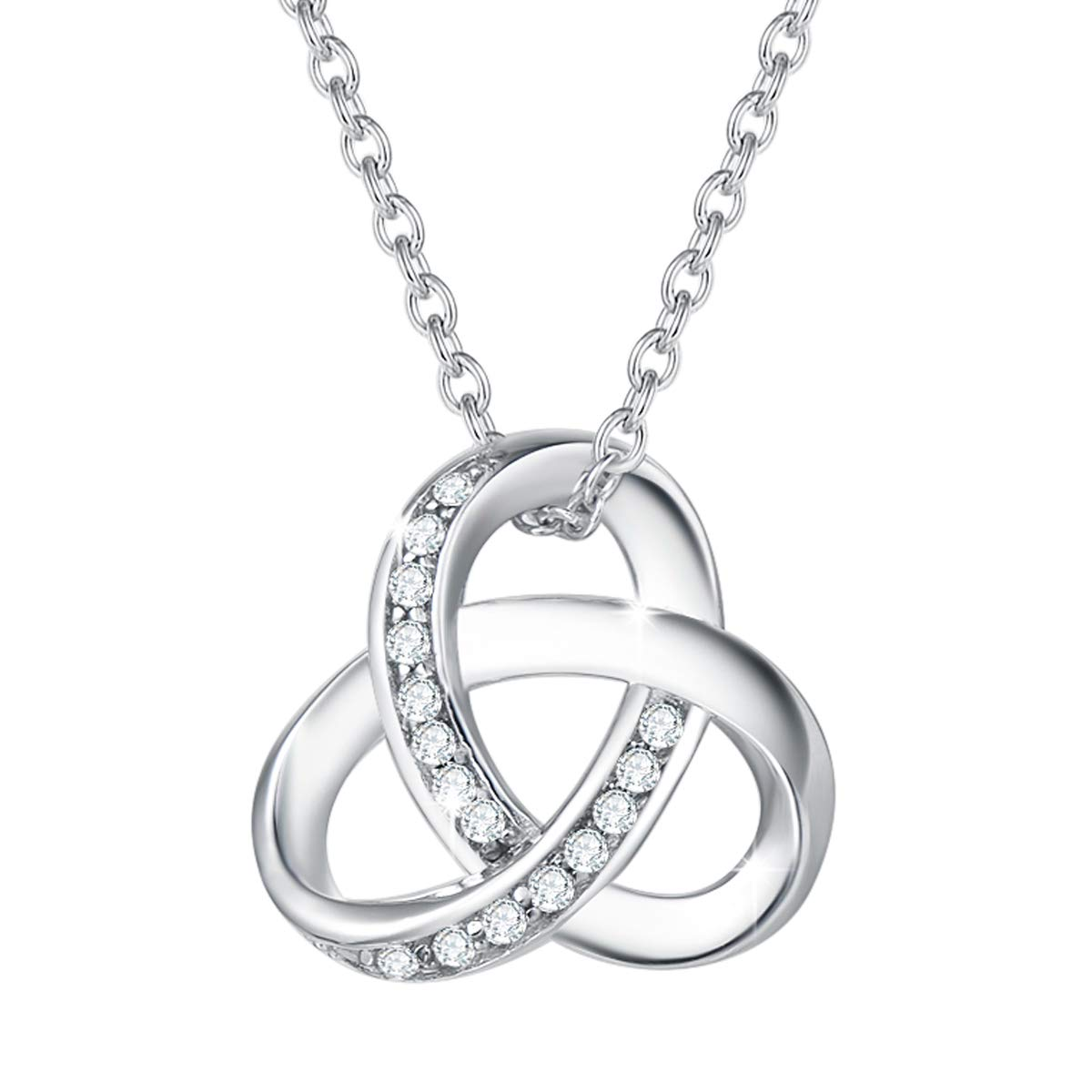 Agvana Infinity Necklace Mothers Day Gifts for Mom Grandma Sterling Silver CZ Forever Love Infinity Dainty Pendant Necklace Gold Plated Jewelry for Women Teen Girls Lover with Jewelry Box, 16+2 Inches