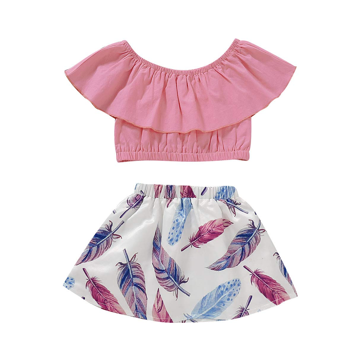 MOLYHUA Baby Girls Outfits, 2Pcs Off-Shoulder Tops + Floral Print Skirt Set