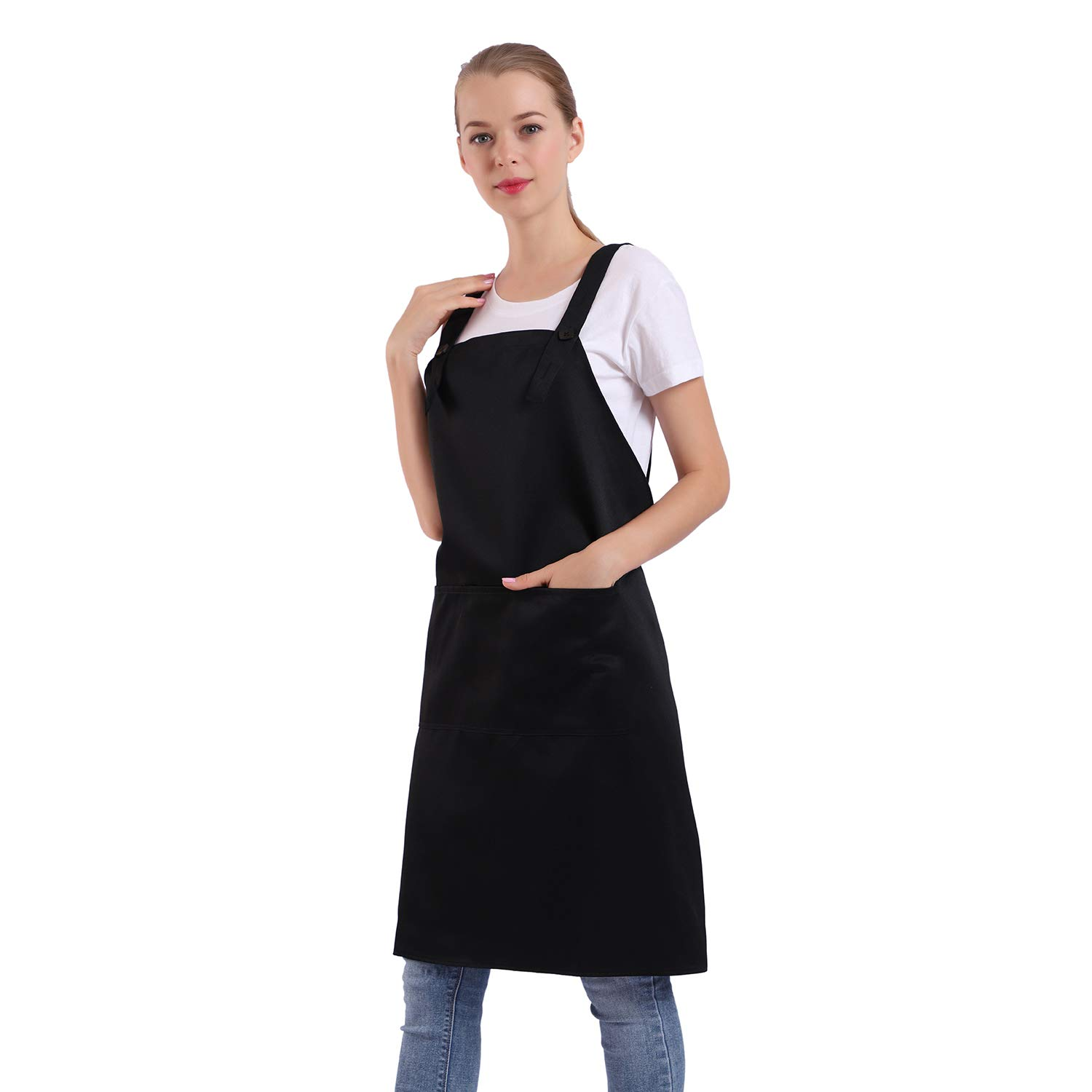 BIGHAS H Style Apron with Pocket for Women, Men Adjustable Large Size Comfortable, Kitchen, Home, Cooking 12 Colors (Black)