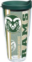 Tervis 1226249 Colorado State Rams College Pride Tumbler with Wrap and Hunter Green Lid 24oz, Clear