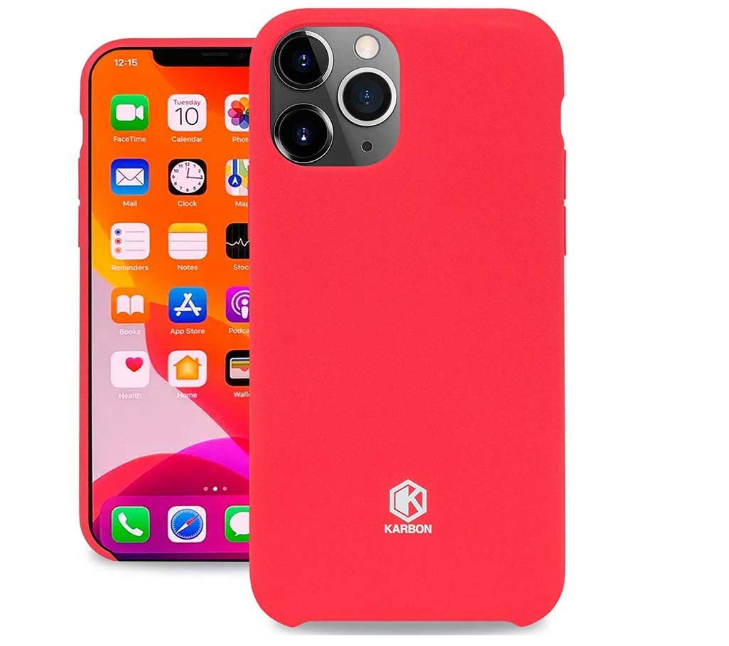 Evutec Karbon Silicone Case Compatible with iPhone 11 Pro Max, Ultra Thin & Protective Shockproof Drop Protection Soft Cover 6.5 Inch (Red)