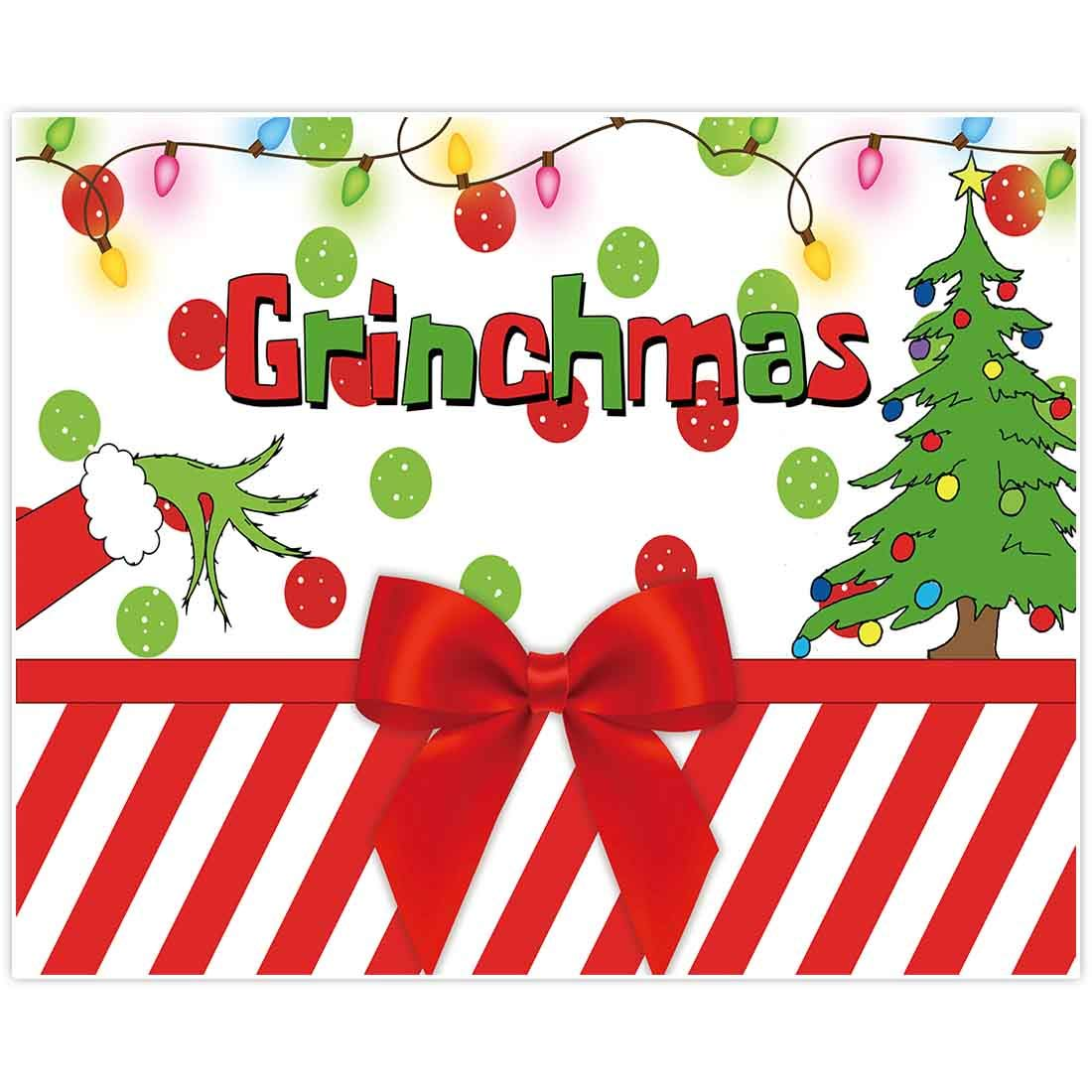 Allenjoy 10x8ft Merry Grinchmas Party Banners Backdrop Christmas Supplies Winter New Year Santa Background Baby Shower Children First Birthday Decorations Studio Photography Props Photo Booth Favors