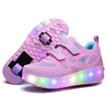 Nsasy Roller Shoes Girls Boys Wheel Shoes Kids Roller Skates Shoes LED Light Up Wheel Shoes for Kids for Kids for Children