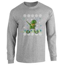Pop Threads Elf Dabbing Christmas Holiday Funny Sweater Style Full Long Sleeve Tee T-Shirt