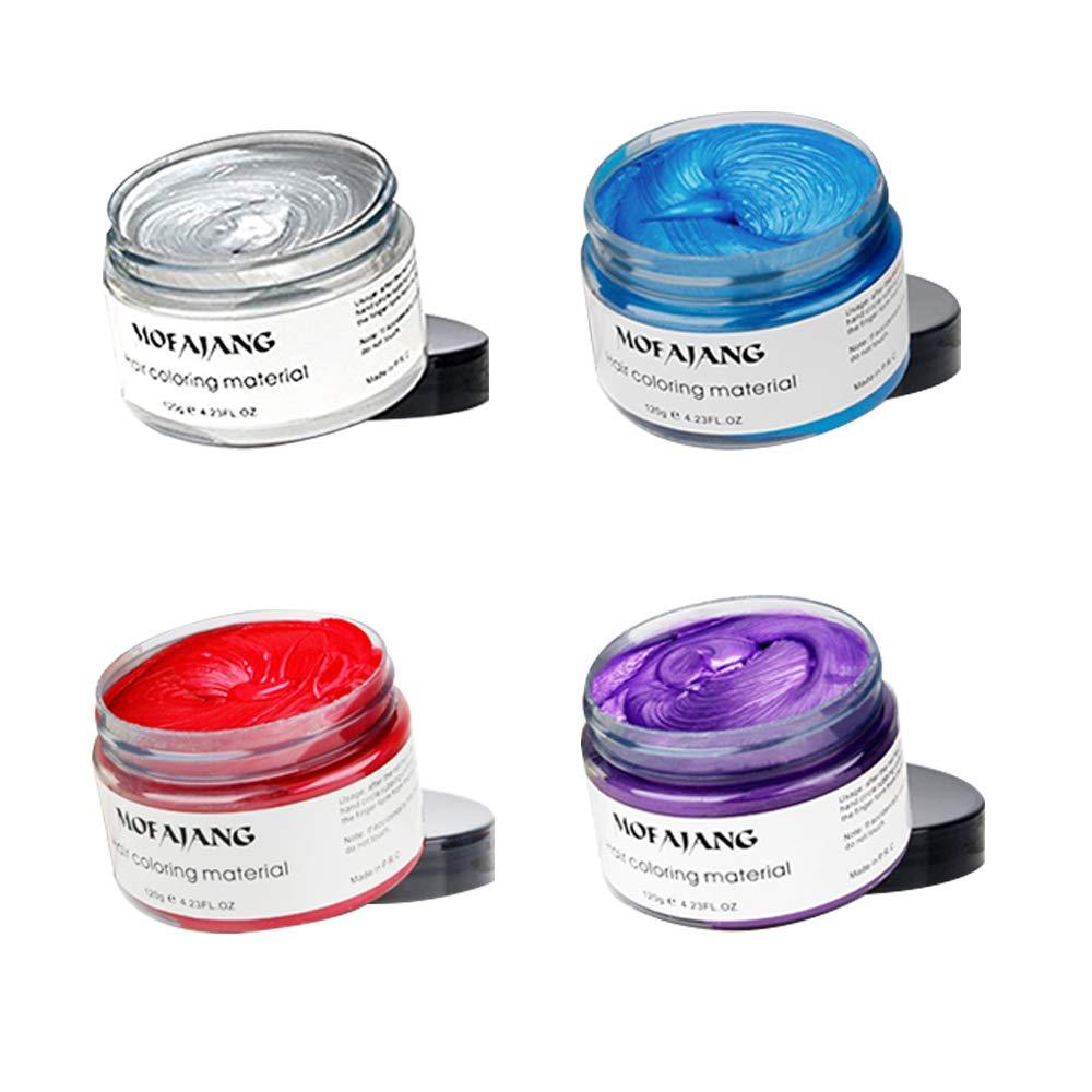 4 Colors Temporary Hair Color Wax Silver Grey Purple Red Blue Natural Hairstyle Cream coloring for Men Women Kids Party Cosplay Date Halloween