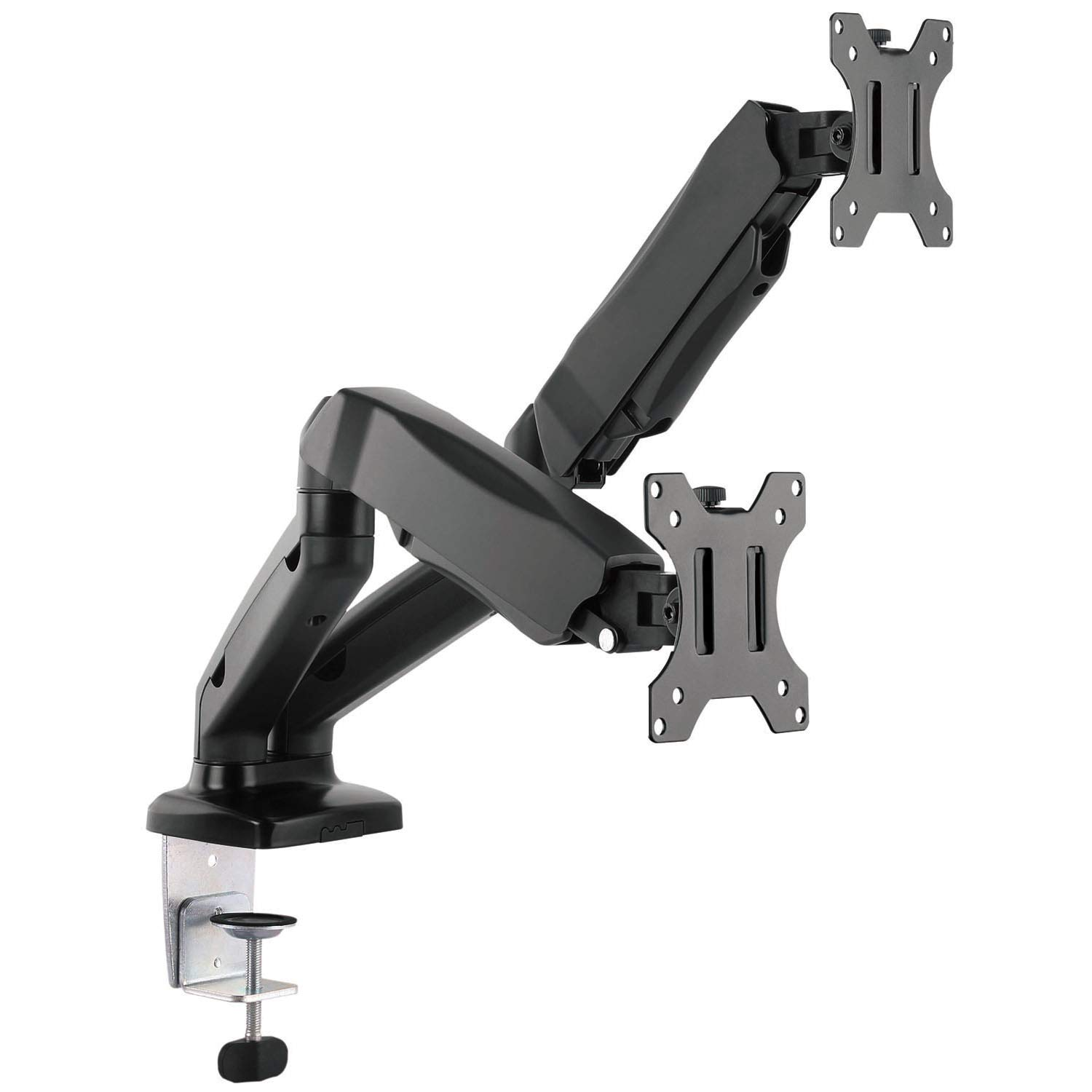 WALI Dual LCD Monitor Fully Adjustable Gas Spring Desk Mount Fit 2 Screens VESA up to 27 inch, 14.3 lbs. Weight Capacity per Arm (GSM002), Black