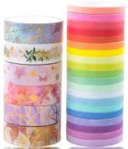 26 Rolls Washi Tape Set,Gold Foil Floral&Colourful Rainbow Tape,Decorative Writable Craft Tape for for Craft,Scrapbook,Bullet Journal,DIY,Gift Wrapping (Red)