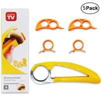 IHUIXINHE Banana Slicer, Orange Citrus Peeler, Finger Ring Opener, 5 Pack Slicer Peeler Set Kitchen Tools, Cucumber Kiwi Sausages Salad Vegetable, Handheld Fruit Tools, Kitchen Gadget