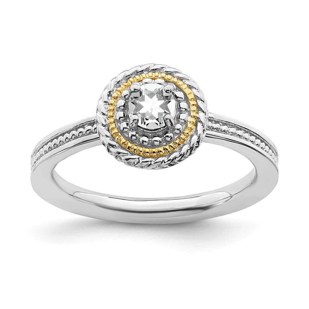 925 Sterling Silver 14k White Topaz Band Ring Stackable Gemstone Birthstone April Fine Jewelry For Women Gift Set