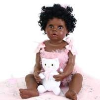 PURSUEBABY Waterproof Full Body Black Reborn Baby Doll African American Girl Caleb, 22 Inch Real Life Toddler Dolls Open Mouth