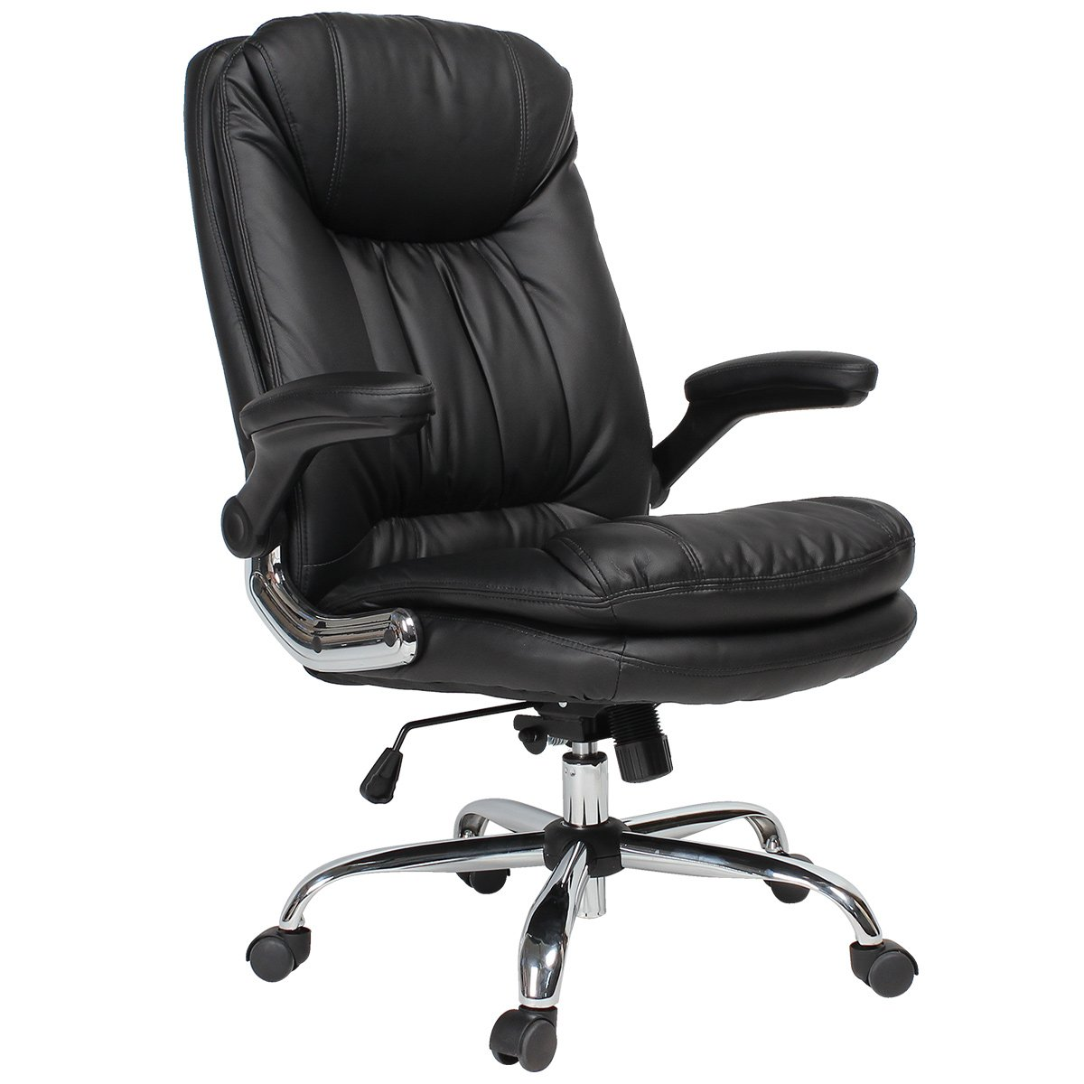 Yamasoro Ergonomic Executive Office Chair High Back Office Desk Chairs Leather Computer Chair Adjustable Tilt Angle And Flip Up Arms Big For Man And Women Black