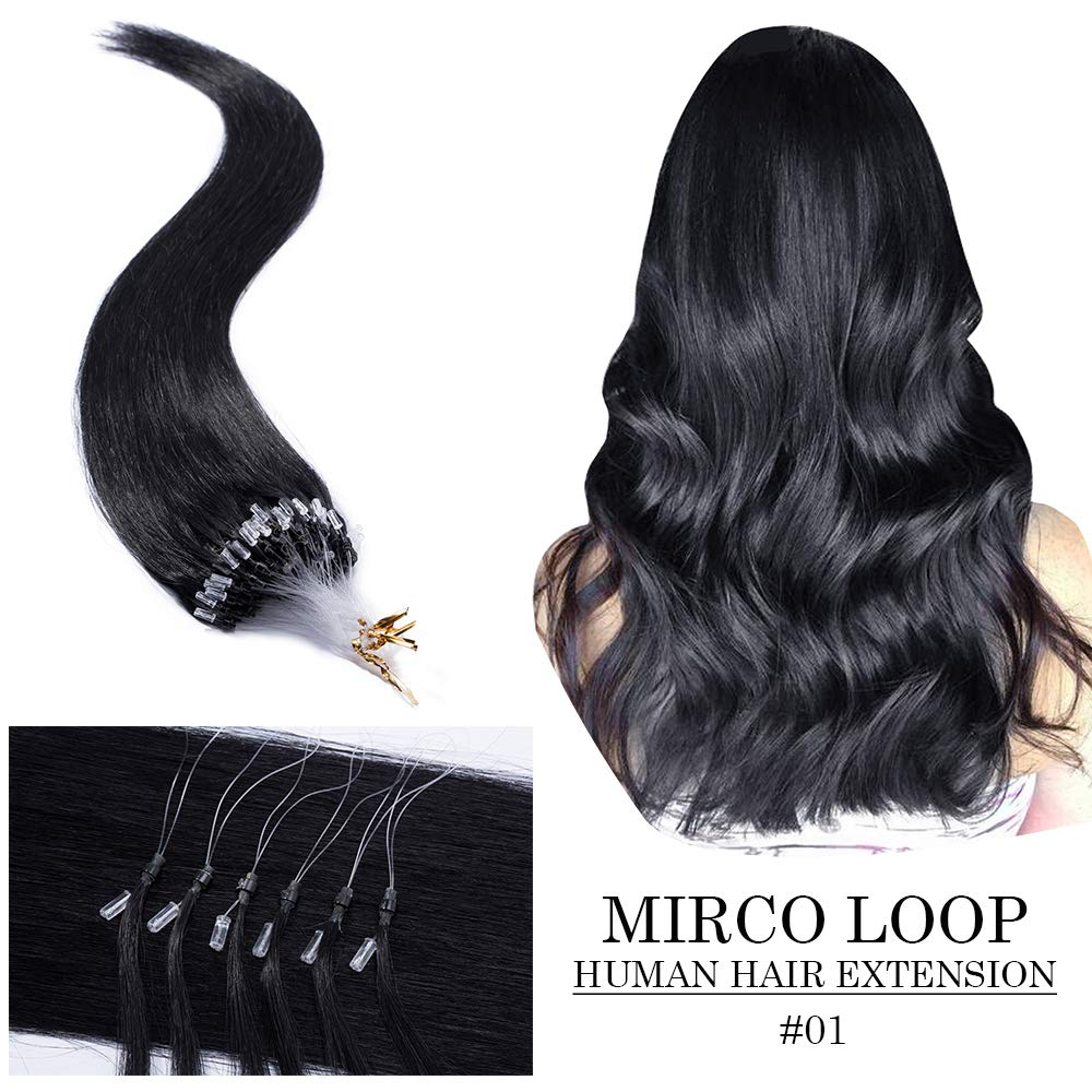 Micro Link Human Hair Extensions Micro Ring Loop Remy Hair Piece Beads Cold Fusion Stick Tipped Hair Fish Line Natural Straight Real Hair Extension For Women 20 inch 50g 100 Strands #01 Dark Black