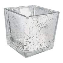 Just Artifacts Mercury Glass Square Votive Candle Holder 3-Inch (1pcs, Speckled Silver) - Mercury Glass Votive Tea Light Candleholders for Weddings, Parties and Home Décor