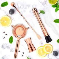 Cocktail Tools, JUSTDOLIFE Stainless Rose Gold Mixing Spoon Double Jigger with Cocktail Ice Muddler and Cocktail Bar Strainer for Home Bar Cocktail Drinks