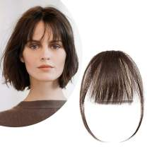 Clip in Bangs Real Human Hair Bangs One Piece Hairpiece Brown Hair Bangs with Temples Thin Air Fringe Two Side Bang Onepiece Bangs Hair Accessories for Women #02 Dark Brown