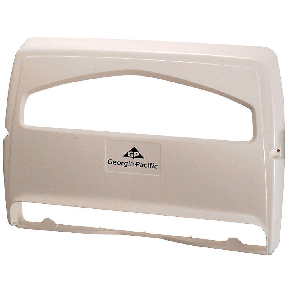 "Safe-T-Gard 1/2 Fold Toilet Seat Cover Dispenser by GP PRO (Georgia-Pacific), White, 57710, 16.375"" W x 2.500"" D x 11.750"" H"