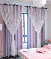 Yancorp Room Darkening Blackout Curtains with Grommets Kids Lace Drapes Star Double Layer Window Panels with Tie Backs Bedroom Living Room (Pink Grey, W52 X L63)