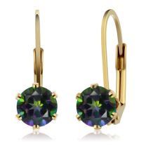 Gem Stone King 2.00 Ct 6.00MM Round Mystic Topaz Gemstone Gold Plated Leverback Earrings