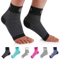 CAMBIVO 2 Pairs Plantar Fasciitis Socks, Ankle Compression Sleeve with Arch Support for Men and Women, Fit for Foot Arch Ankle Swelling (Black, Small)