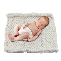 """Play Tailor Chunky Knit Blanket for Newborn Photography Props Baby Photo Backdrop Rugs Newborn Basket Filler (19.7""""x19.7"""", White)"""