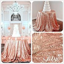 """TRLYC 2018 Shiny 108"""" Round Sequin Tablecloth for Wedding Party -Rose Gold"""