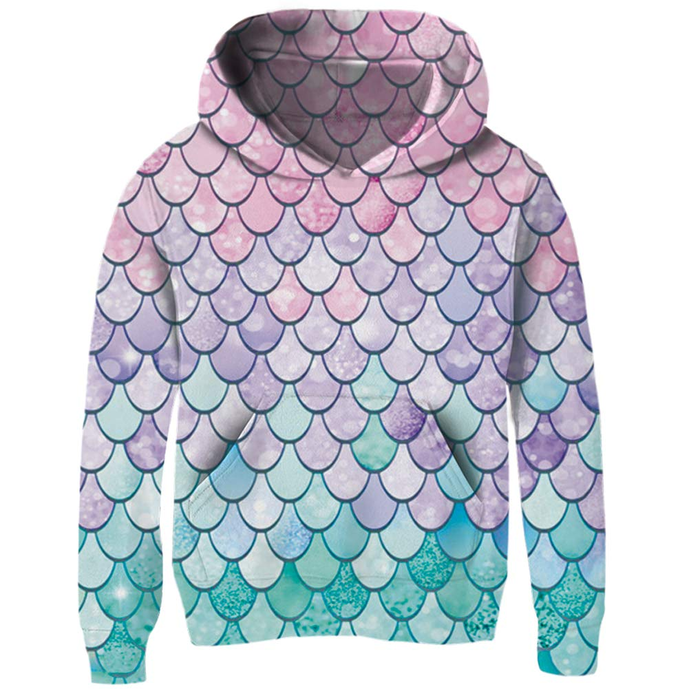 UNIFACO Girls 3D Print Pullover Hoodie Kids Hooded Sweatshirt with Front Pockets for 4-14 Years