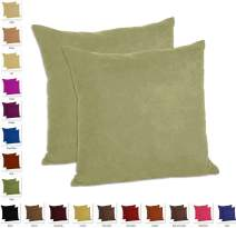 "MoonRest - Set of 2 Microfiber Decorative Pillow, Fully Assembled with Hidden Zipper Filled with Synthetic Down Pillow Inserts (20""x20"", Sage)"