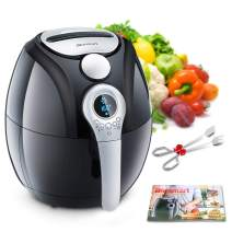 Air Fryer, Blusmart Electric Air Fryer, 3.4Qt/3.2L 1400W, LED Display, Hot Air Fryer, Healthy Oil Free for Cooking/Baking (Recipes & Kitchen Tongs Included)