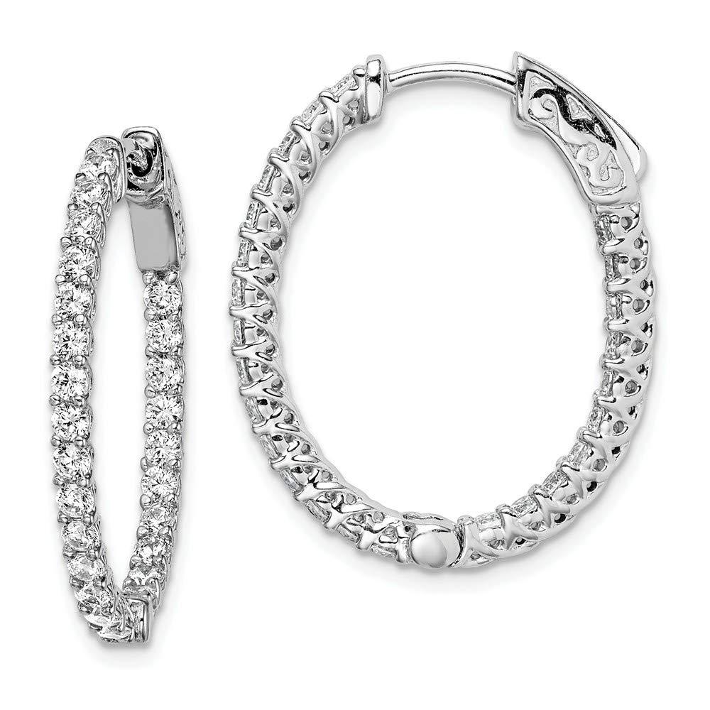 925 Sterling Silver Cubic Zirconia Cz Hinged Oval Hoop Earrings Ear Hoops Set Fine Jewelry For Women Gifts For Her