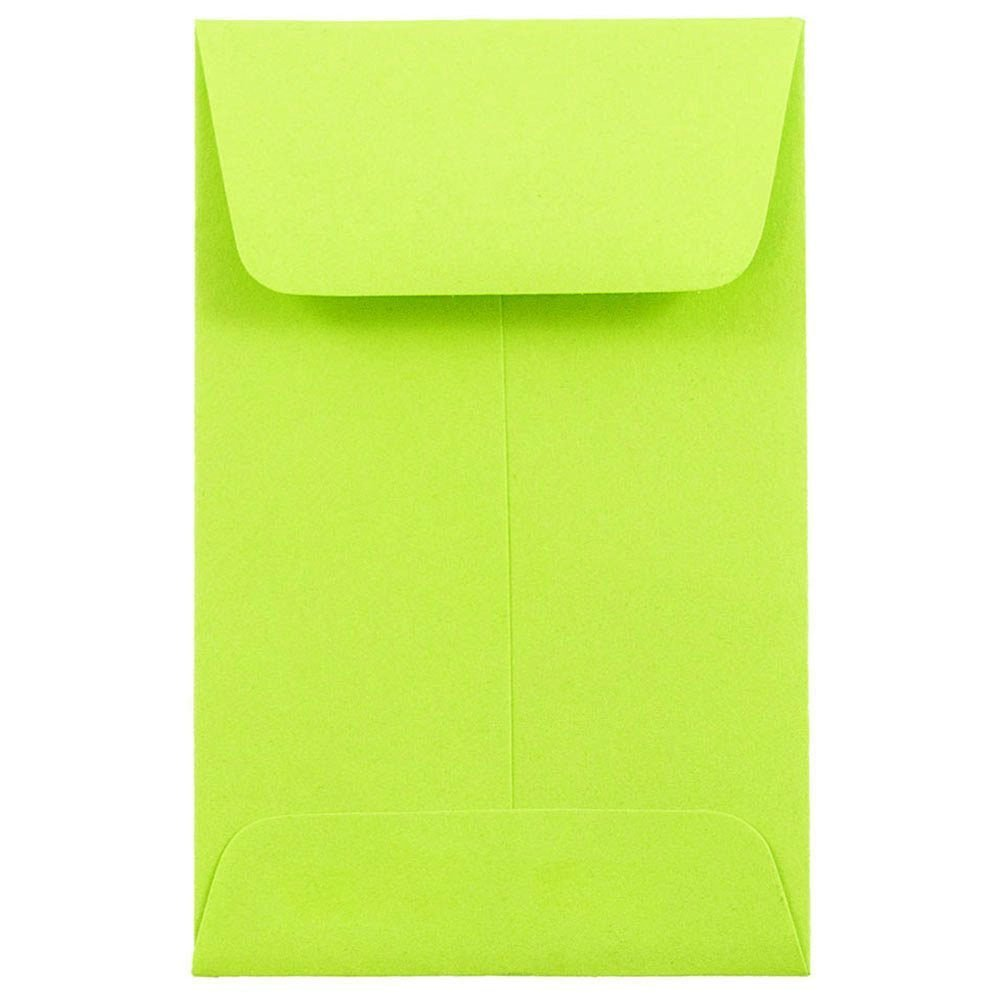 JAM PAPER #1 Coin Business Colored Envelopes - 2 1/4 x 3 1/2 - Ultra Lime Green - 25/Pack
