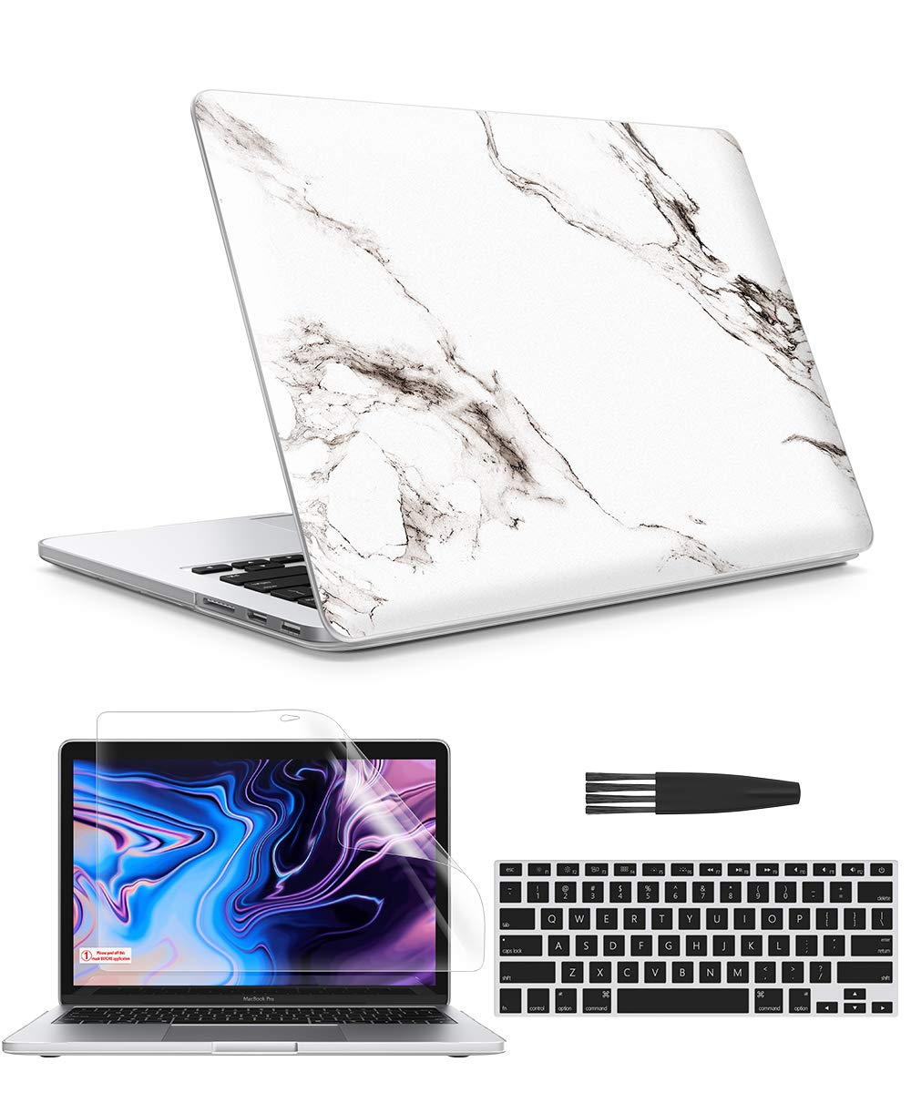 """GVIEWIN Case for MacBook Pro 13 Inch Case 2012-2015 with Retina Display A1425 A1502, Marble Hard Sell& Keyboard Cover& Screen Protector& Cleaning Brush, Compatible with Pro 13"""", Marble/White"""