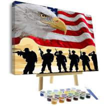VIGEIYA DIY Paint by Numbers for Adults Beginner and Kids Age 8-12 Framed Canvas and Wooden Easel with Brushes Acrylic Paint 16 x 20 Inch (The Eagle Flag)