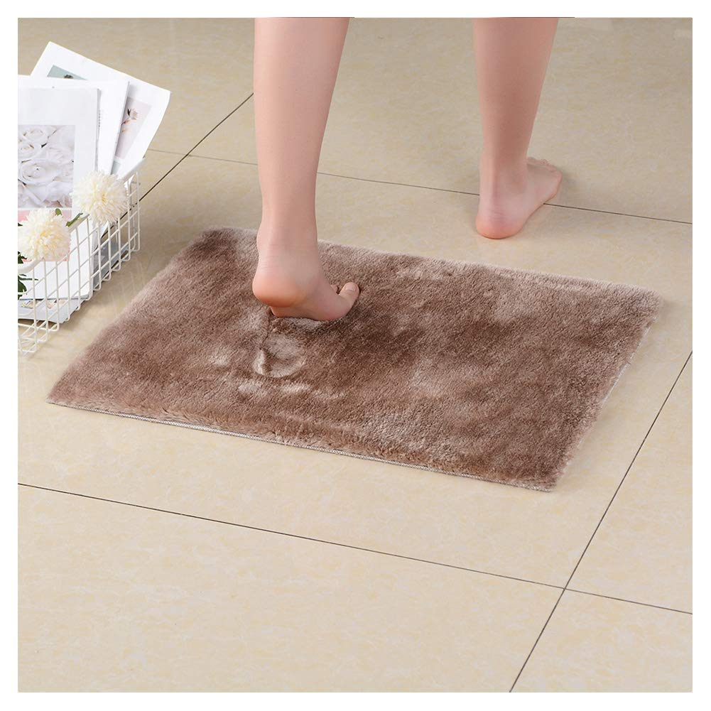 NICE LIFE Recycled Bathroom Mat Microfiber Shower Mats for Bathroom, Dark Camel Bathroom Rugs 20x32 Inches, Non-Slip Machine Washable, Soft Plush Carpet for Bathroom, Tub, Shower, Dark Camel