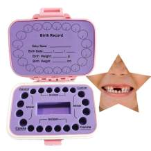 Baby Tooth Box Kids Keepsake Organizer PP Cute Children Tooth Fetal Hair Container with English Mark (Pink and Purple)
