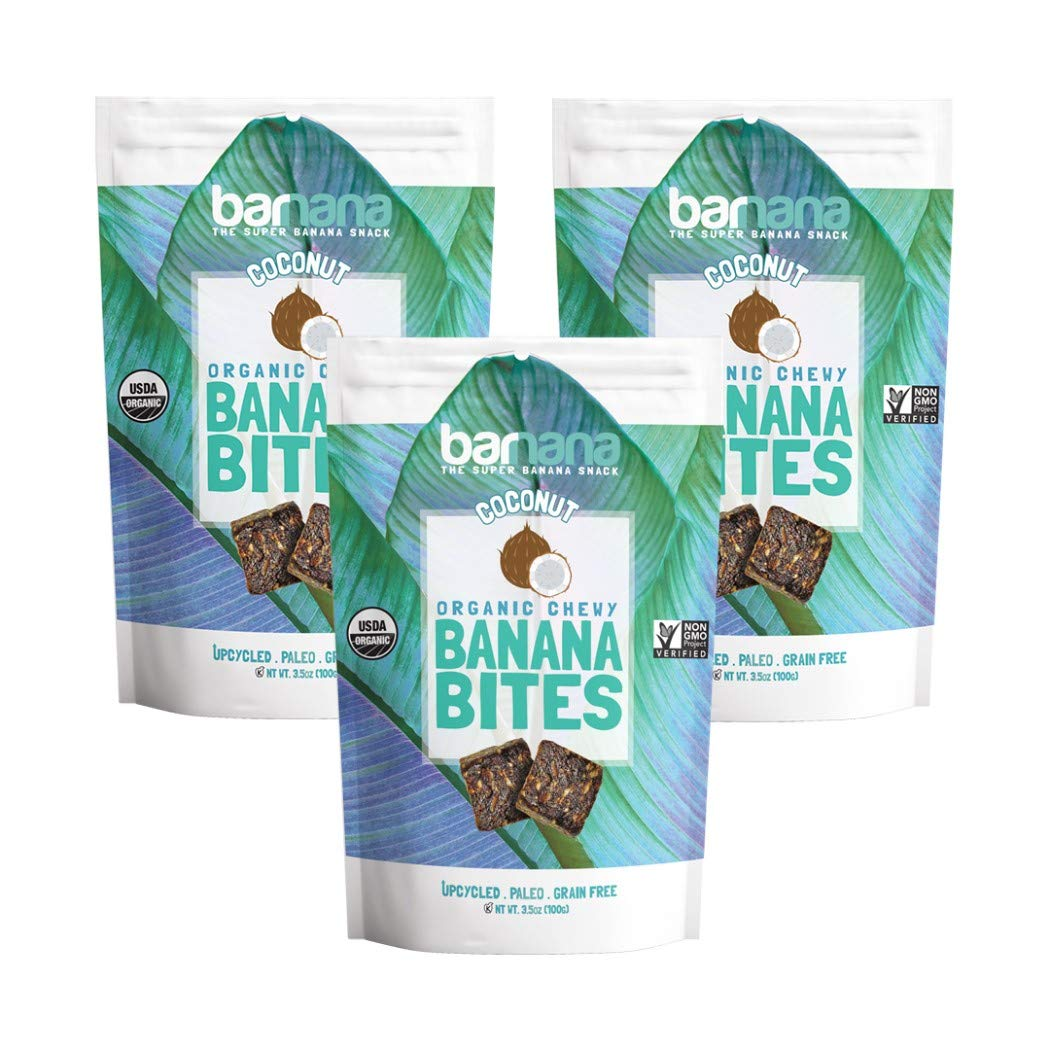 Barnana Organic Chewy Banana Bites - Coconut - 3.5 Ounce, 3 Pack Bites - Delicious Potassium Rich Banana Snacks - Lunch Dinner Sports Hiking Natural Snack - Whole 30, Paleo, Vegan